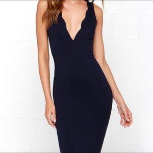 Navy blue scalloped deep neckline cocktail dress